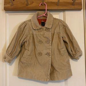 GAP Khaki Corduroy Pea Coat 18-24 Months